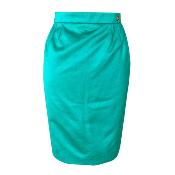 Gucci Skirt Cool Green Gold GG Logo 40 / 6  nwt - mightychic