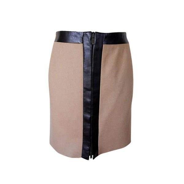 Gucci Skirt Camel Hair Leather Trim Front Zipper 40  6  nwt