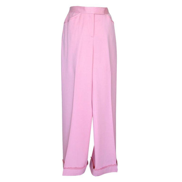 Chanel Pant French Pink Super Rear Detail Fringed Cuff 38 / 4