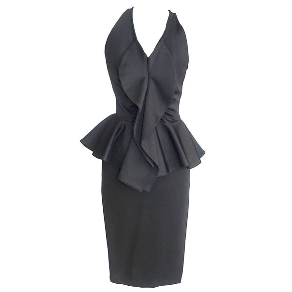 Givenchy Dress Black Ruffle Peplum Beautiful 40 / 6
