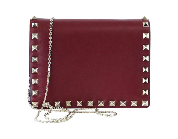 Valentino Garavani Bag Red Mini Rock Stud Clutch Cross Body Wallet on a Chain - mightychic