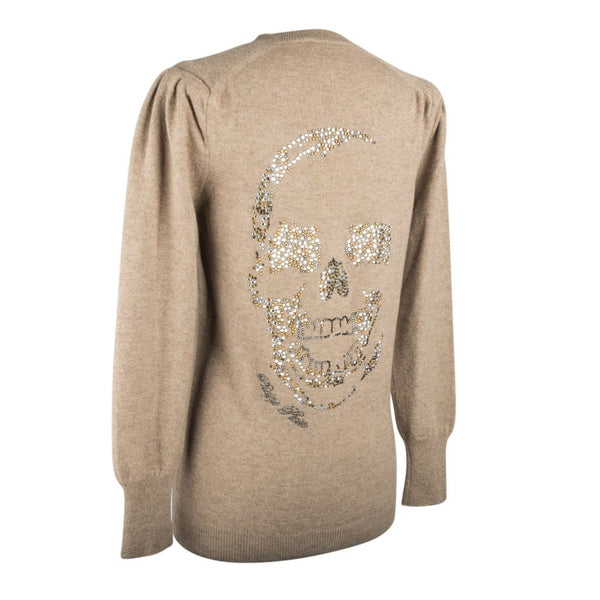 Philipp Plein Couture Sweater  Cashmere Cardigan  Embellished Rear Skull  M - mightychic