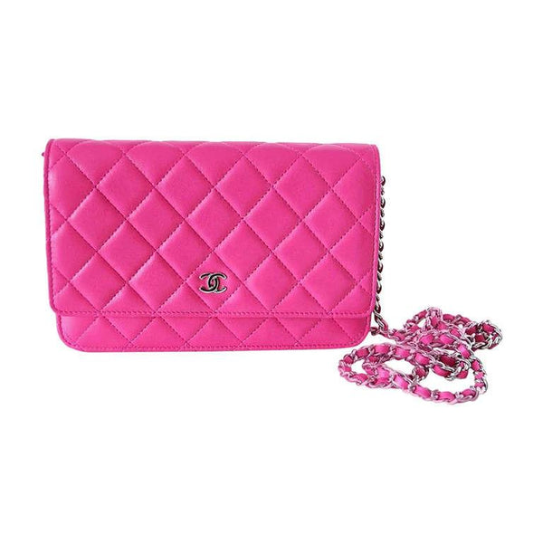 CHANEL Bag Wallet On A Chain Hot Pink Lambskin Cross Body NWT Divine