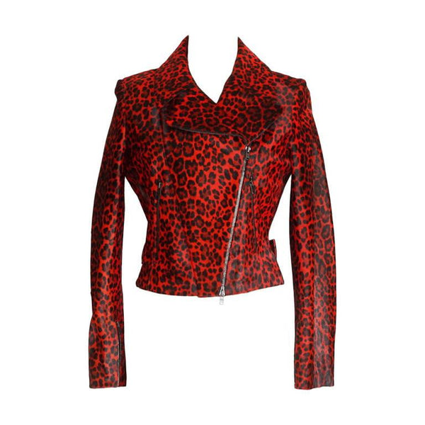 Azzedine Alaia Jacket Motorcycle Baby Calf Red Leopard Print 42 / 6 nwt