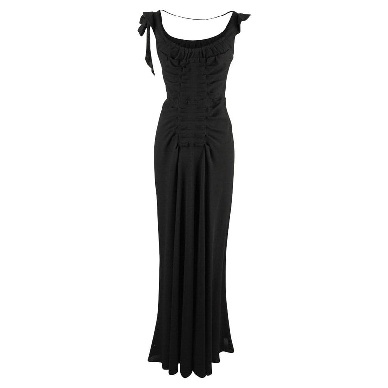 Prada Dress Black Vintage Gown Pleat and Bow Detailing 40 / 4 - mightychic