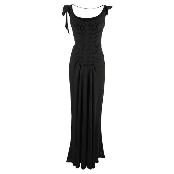 Prada Dress Black Vintage Gown Pleat and Bow Detailing 40 / 4