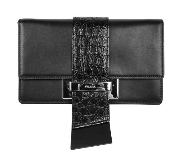 Prada Bag Plex Ribbon Clutch / Shoulder Black w/ Crocodile and Leather Ribbon - mightychic