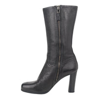 Prada Boot Mid Calf Double (2) Zippers High Heels 39.5 / 9.5