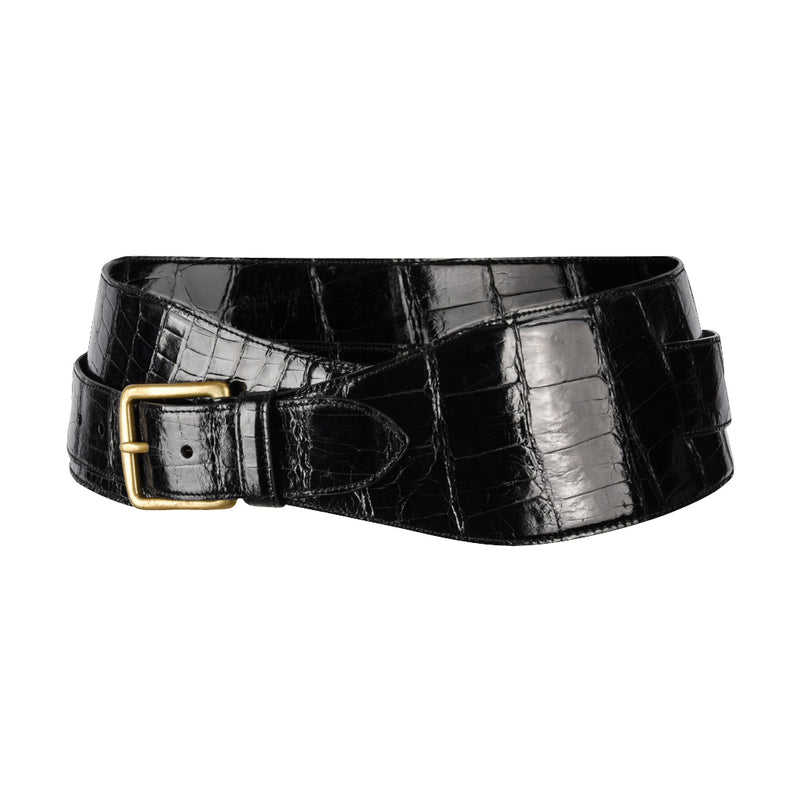 Ralph Lauren Belt Black Alligator Double Wrap Brass Buckle M new - mightychic