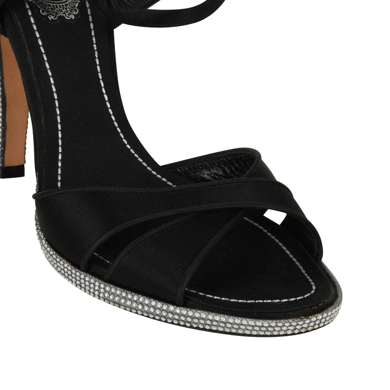 Rene Caovilla Shoe Crystal Heel Platform Black Satin 38 / 8 - mightychic