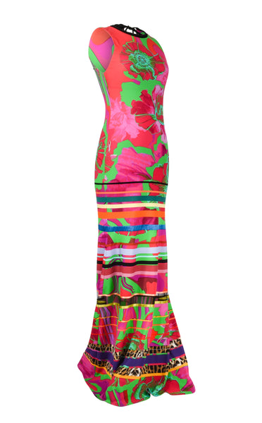 Roberto Cavalli Dress Floor Length Exotic Floral Print Tropical Colours 8