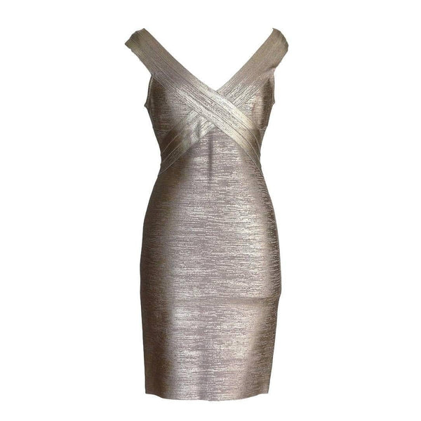 Herve Leger Dress Signature Bandage Wood Grain Foil Print M  nwt