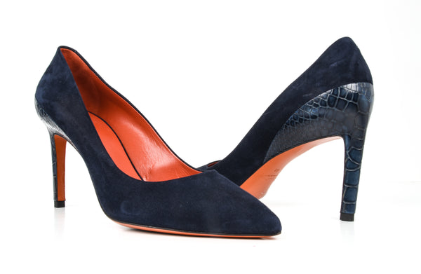 Santoni Shoe Navy Blue Suede Crocodile Feature 40 / 10 New - mightychic