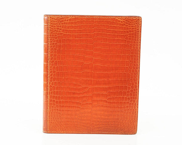 Hermes Globetrotter Agenda Orange Feu Porosus Crocodile - mightychic