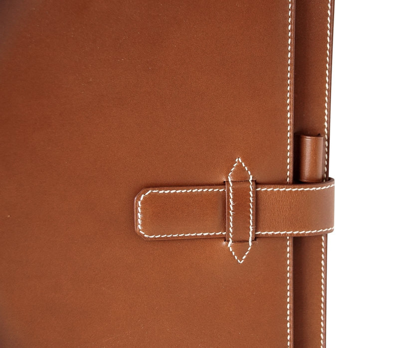 Hermes Barenia Leather White Topstitch Agenda Cover - mightychic