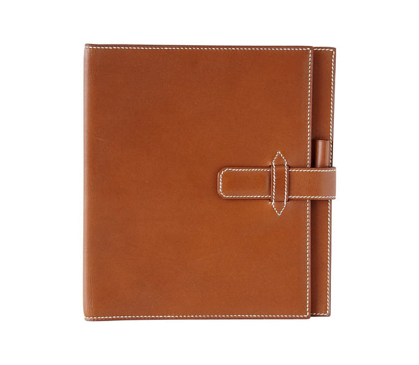 Hermes Barenia Leather White Topstitch Agenda Cover