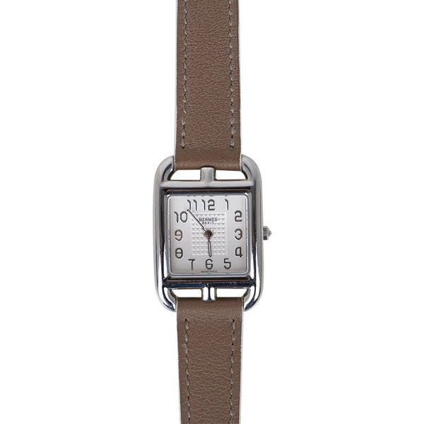 Hermes Cape Cod Steel Watch Etoupe Calfskin Band New w/ Box