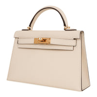 Hermes Kelly 20 Mini Sellier Bag Nata Epsom Leather Gold Hardware New w/Box