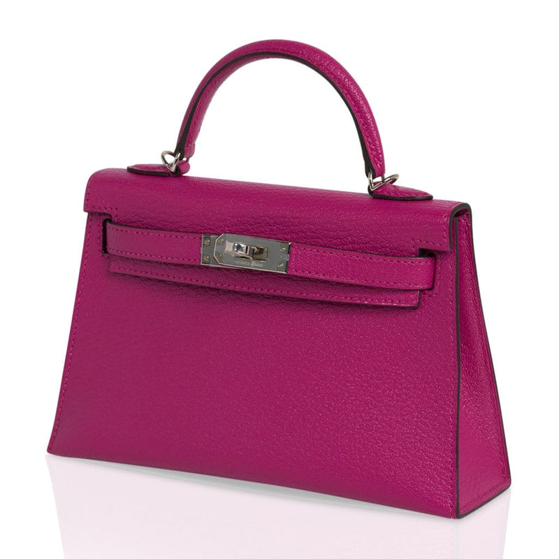 Hermes Kelly 20 Mini Sellier Bag Rose Pourpre Chevre Leather Palladium New w/Box