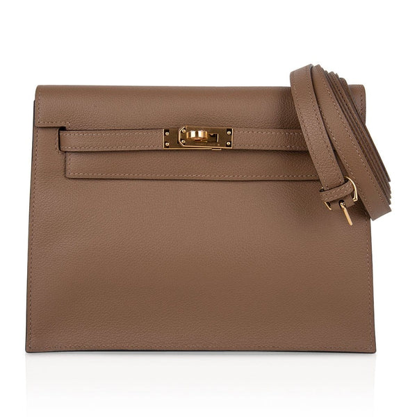 Hermes Kelly Danse Bag Beige de Weimar Swift Gold Hardware New w/ Box