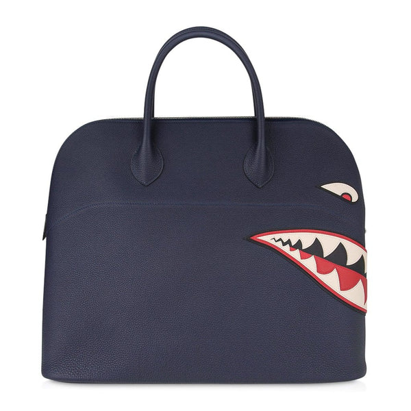 Hermes Bolide 40 Bag Men's Runway Unisex Shark Monster Blue Indigo Limited Edition