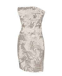 Herve Leger Dress Strapless Bandage Encrusted Silver Bugle Beads S nwt