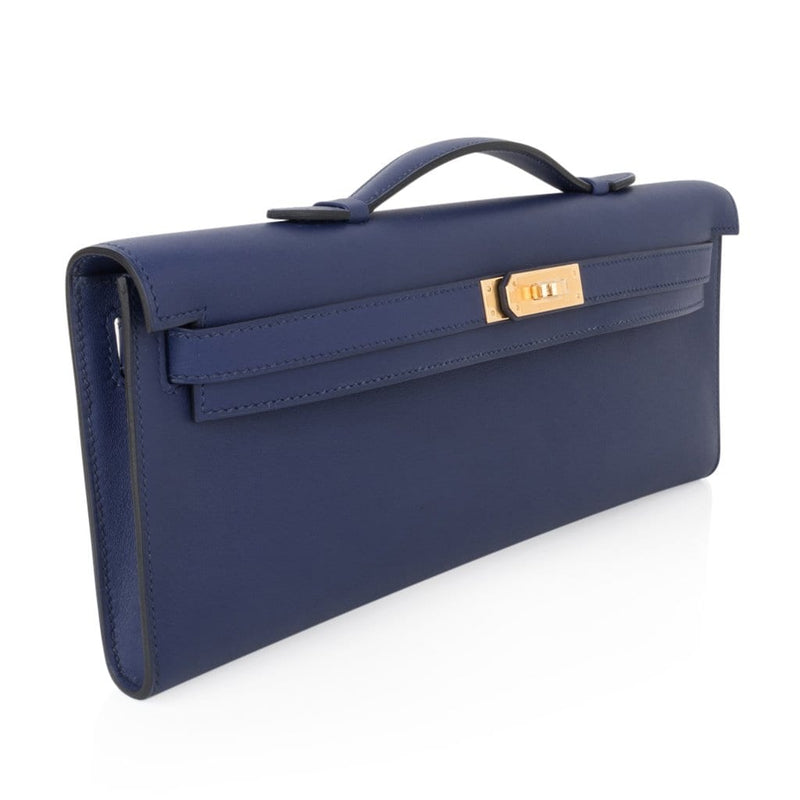 Hermes Kelly Cut Bag Blue Encre Clutch Swift Gold Hardware New - mightychic