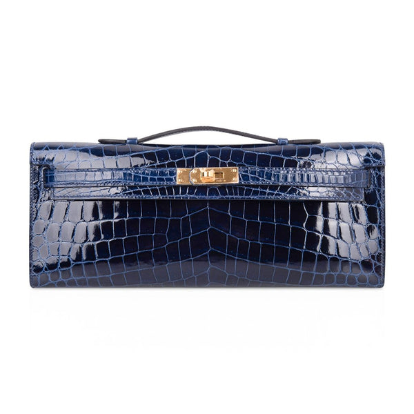 Hermes Kelly Cut Blue Sapphire Crocodile Clutch Bag Gold Hardware