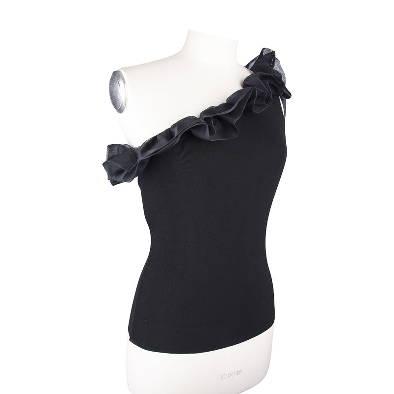 Valentino Top One Shoulder Ruffle and Bow Trim M New w/ Tag