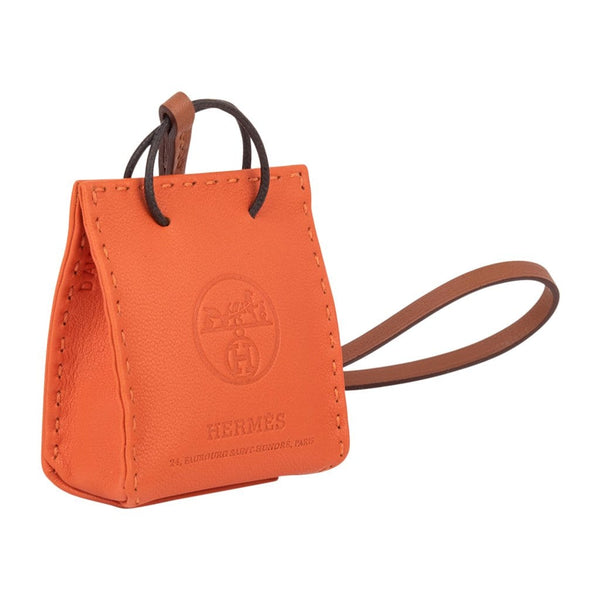 Hermes Orange Bag Charm New w/ Box