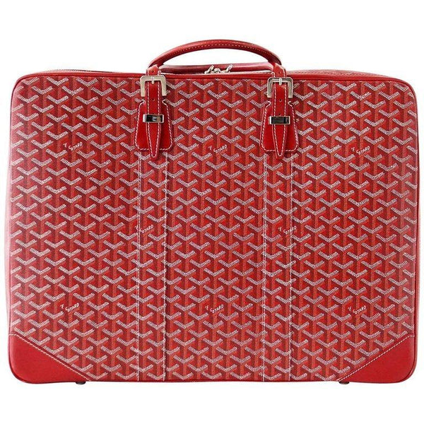 Goyard Soft Red Signature Monogram Majordome 50 Palladium Fittings Suitcase