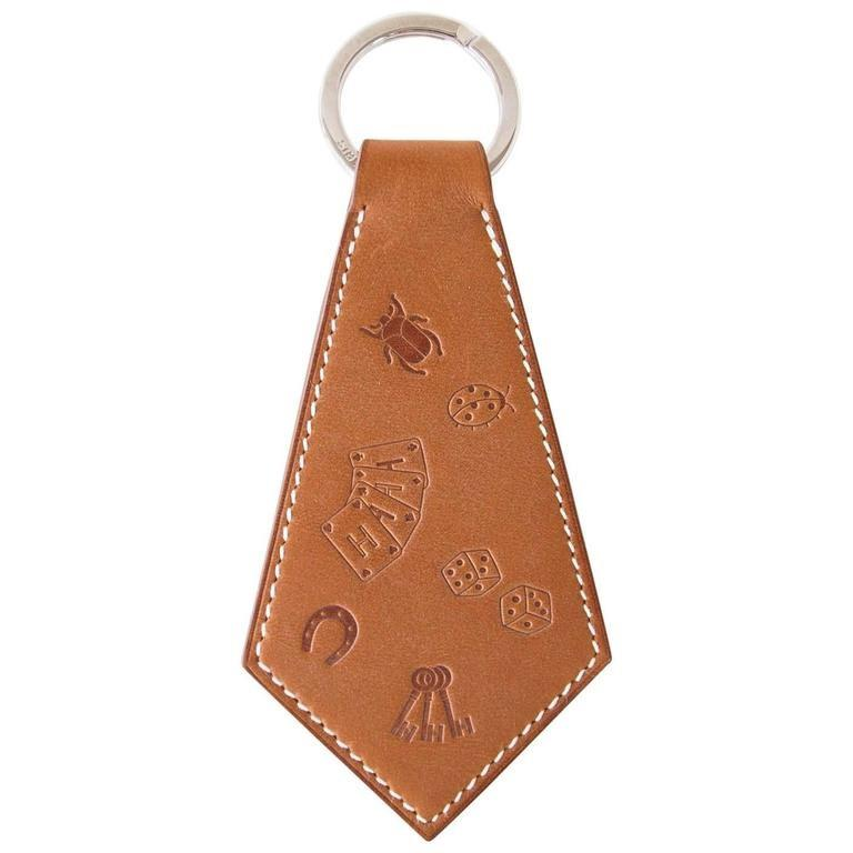Hermes Key Ring Super Lucky Charms Tab Tie Shaped Embossed Barenia Rare - mightychic