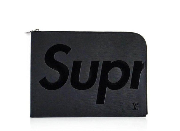 Louis Vuitton Supreme X Black Pochette Epi Jour GM Clutch Laptop Case - mightychic