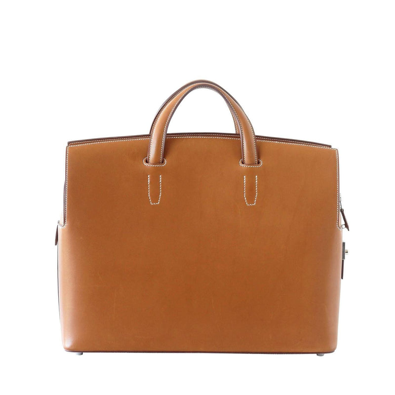 Hermes Briefcase Men's City Hall Porte-Document Fauve Veau Barenia - mightychic