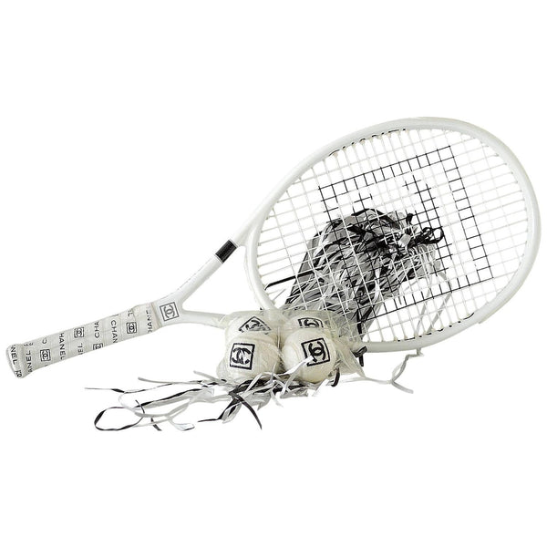 CHANEL Limited Edition Tennis Racquet Racket 4 Tennis Balls and Case new