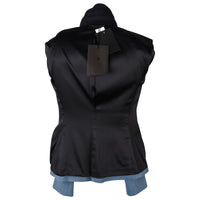 The Row Jacket Rich Navy and Slate Blue Single Breast 4  new - mightychic