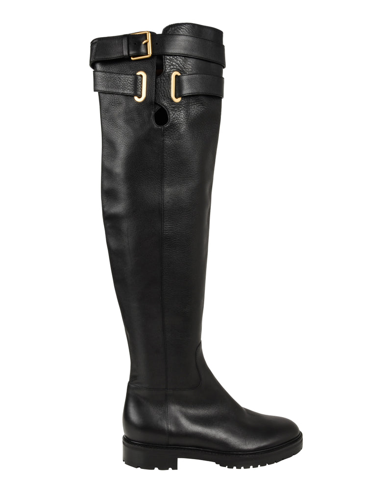 Valentino Boots Over Knee Black Flat Crisscross Straps w/ Buckle 39.5 / 9.5 New - mightychic