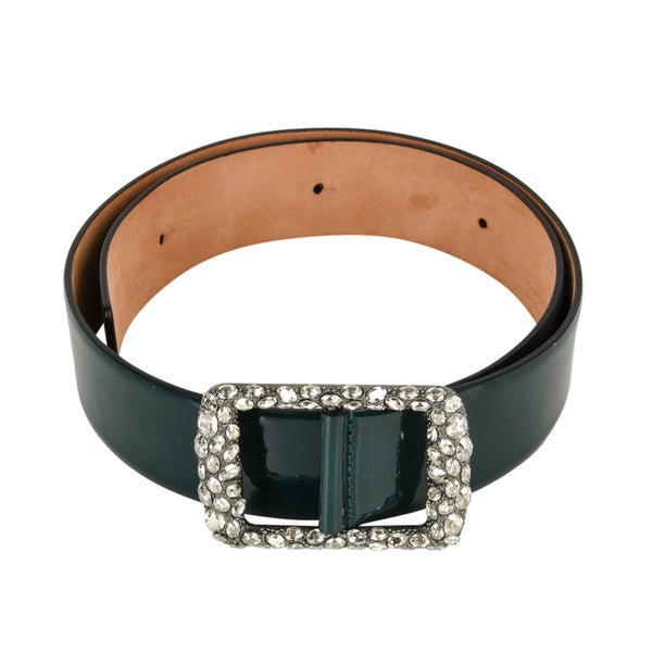 Valentino Belt Bottle Green Patent Leather Bold Diamante Buckle 80 / 32 New