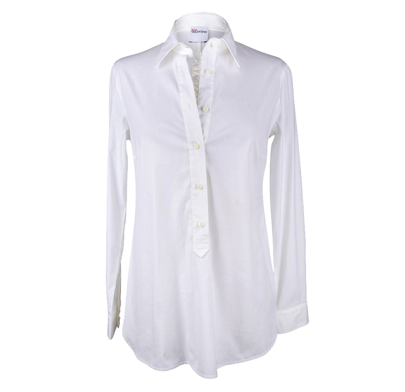 Red Valentino Top White Cotton Shirt Peek a Boo Lace Detail 6