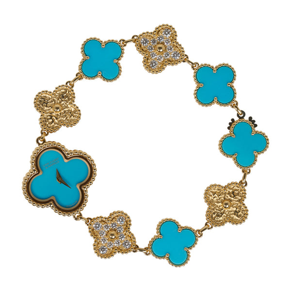 Van Cleef and Arpels Turquoise / Diamond Sweet Alhambra Watch Limited Edition