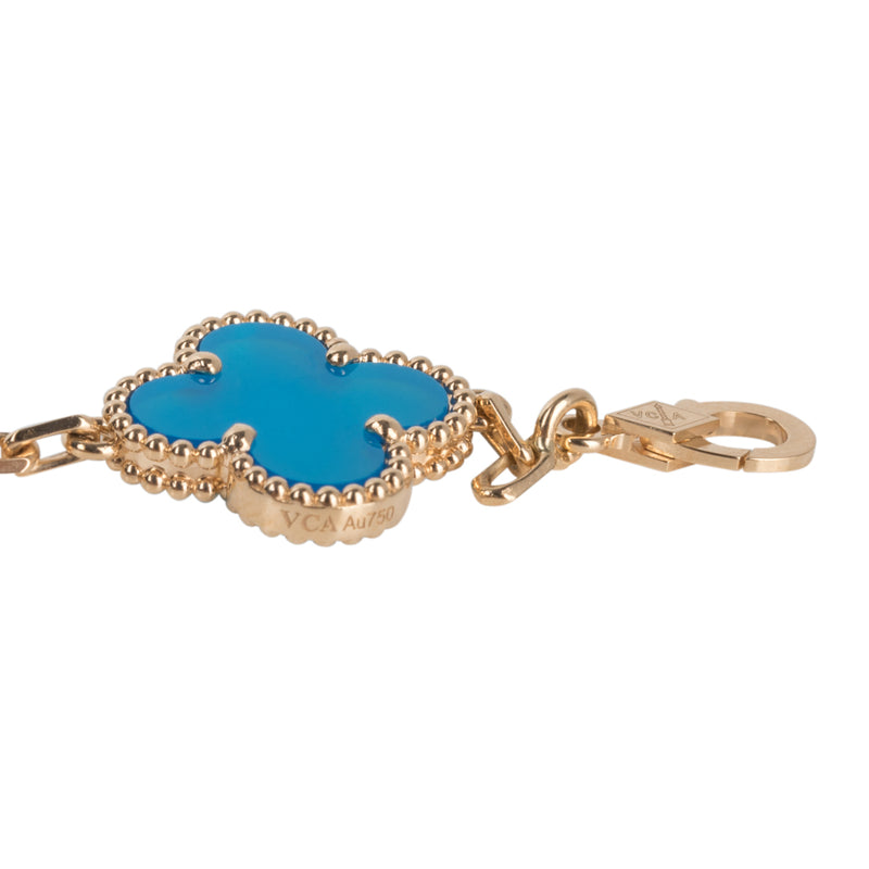 Van Cleef & Arpels Vintage Alhambra Blue Agate Yellow Gold 5 Motif Bracelet Rare - mightychic
