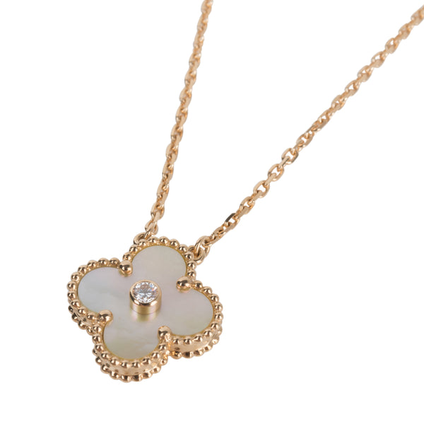Van Cleef & Arpels Necklace Holiday Gold Mother of Pearl Alhambra Diamond 18K Yellow Gold