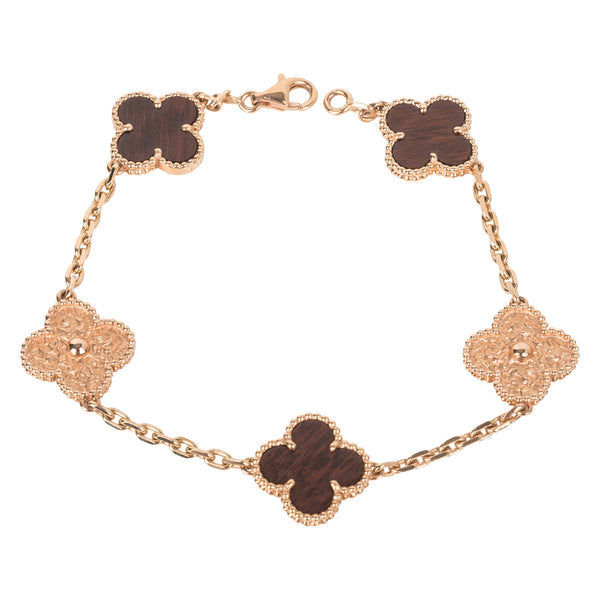 Van Cleef and Arpels Bracelet Alhambra Collection 18K Rose Gold Letterwood