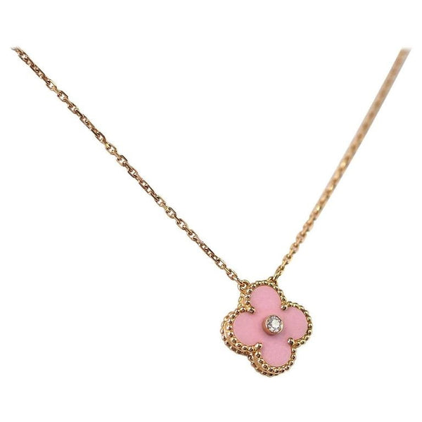 Van Cleef & Arpels Necklace 2015 Holiday Pink Alhambra Diamond Ltd Ed Rose Gold