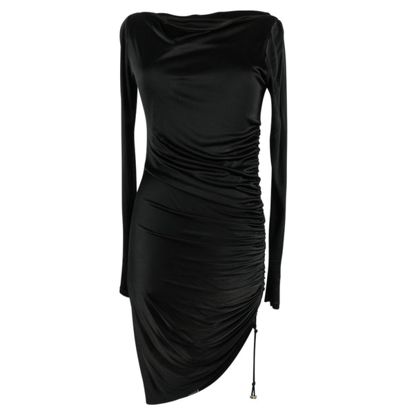 Versace Dress Black Side Drawstring Rouching Asymmetrical Length 44 / 8 - mightychic