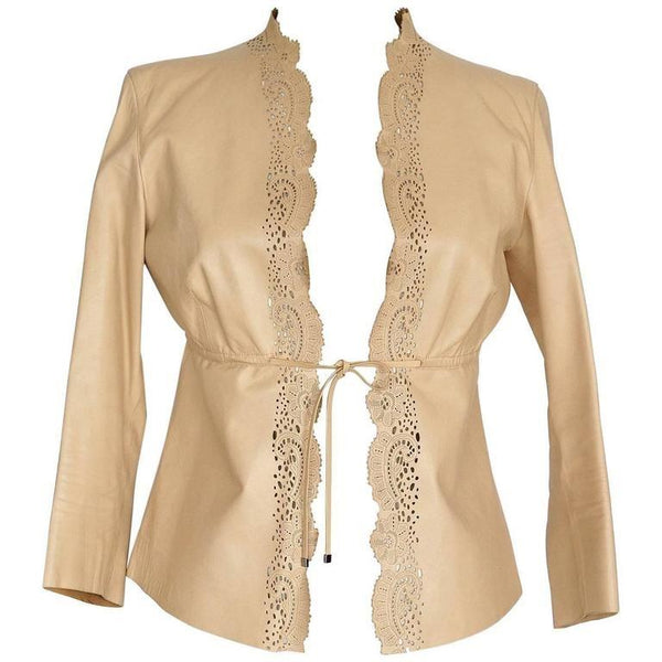 Gucci Jacket Charming Nude Leather Laser Cut Edging 3/4 Sleeve Empire Waist 40 / 6