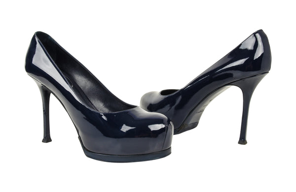 YSL Saint Laurent Tribute Pump Shoe Navy Blue Patent Leather 39 / 9 New