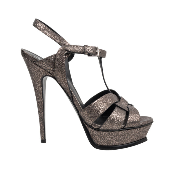 YSL Yves Saint Laurent Shoe Tribute Gunmetal Metallic 39.5 / 9.5 - mightychic