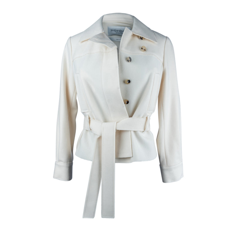 Yves Saint Laurent Jacket Winter White Felted Wool 34 / 4 - mightychic