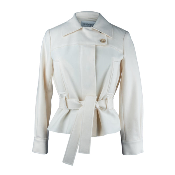 Yves Saint Laurent Jacket Winter White Felted Wool 34 / 4
